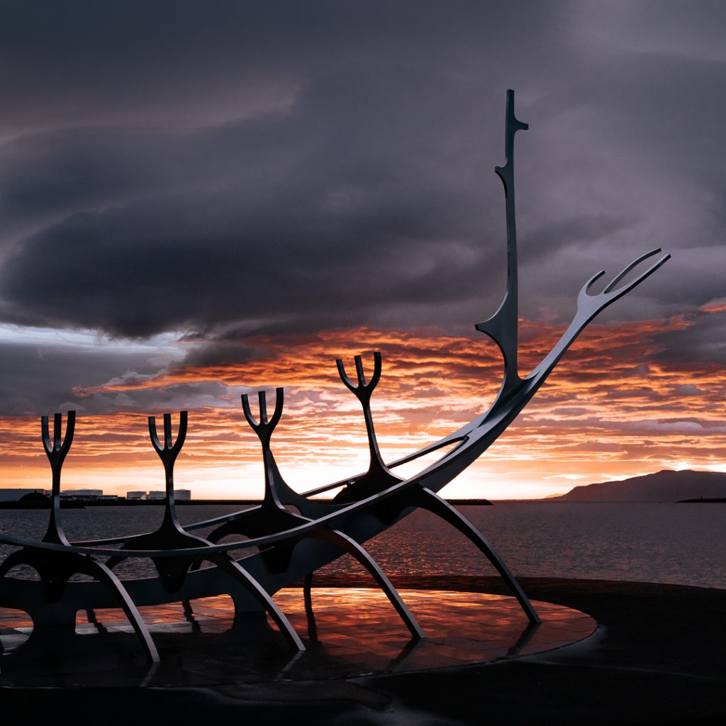 The Sun Voyager (Icelandic: Sólfar) is a sculpture by Jón Gunnar Árnason, located next to the Sæbraut road in Reykjavík, Iceland.